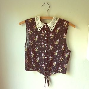 Lace Collar Floral Tank Top